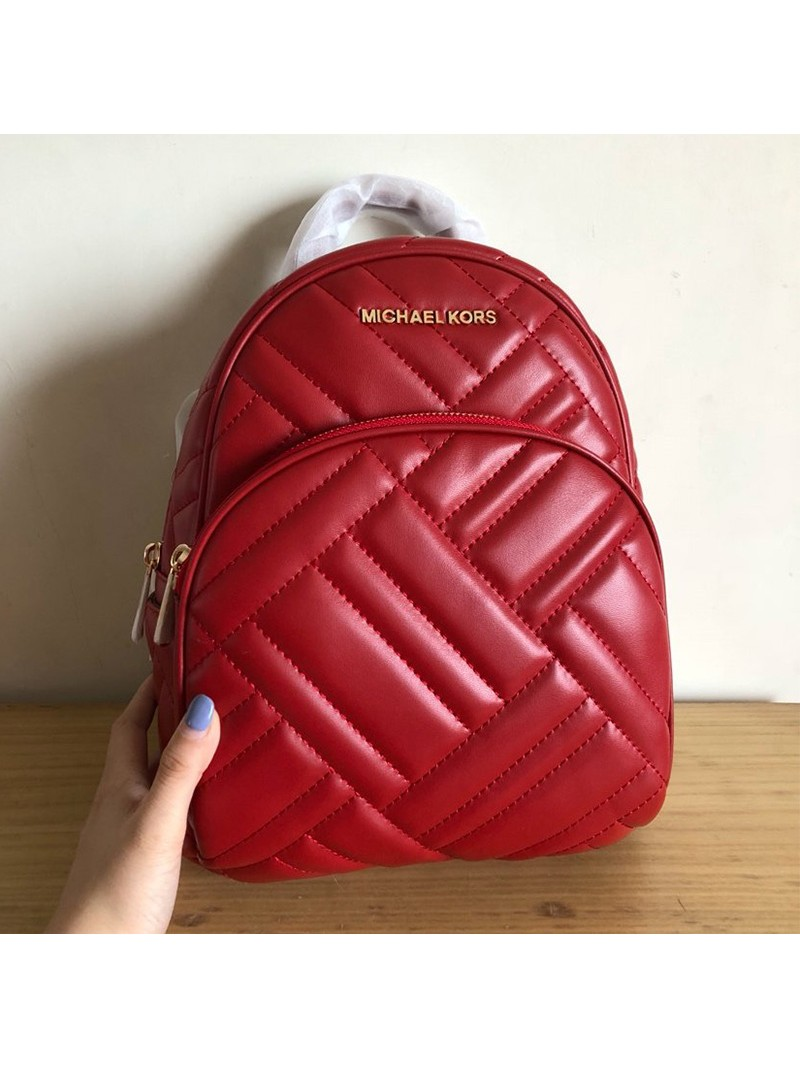 MICHAEL Michael Kors Abbey Medium Quilted Leather Backpack Red