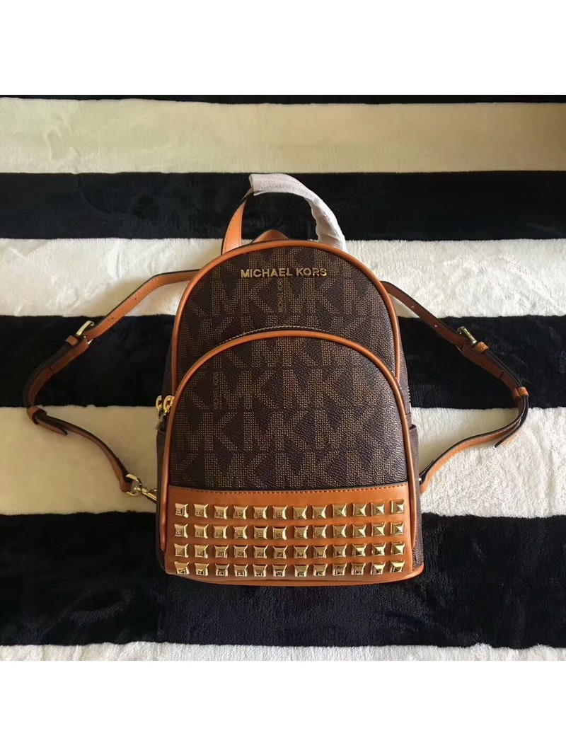 MICHAEL Michael Kors Abbey Extra-Small Studded Logo Backpack Coffee