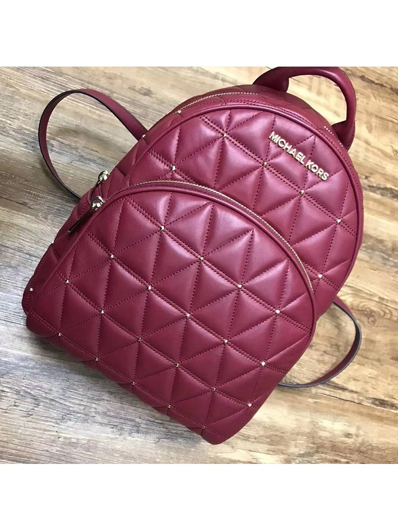 MICHAEL Michael Kors Abbey Quilted-Leather Backpack Red
