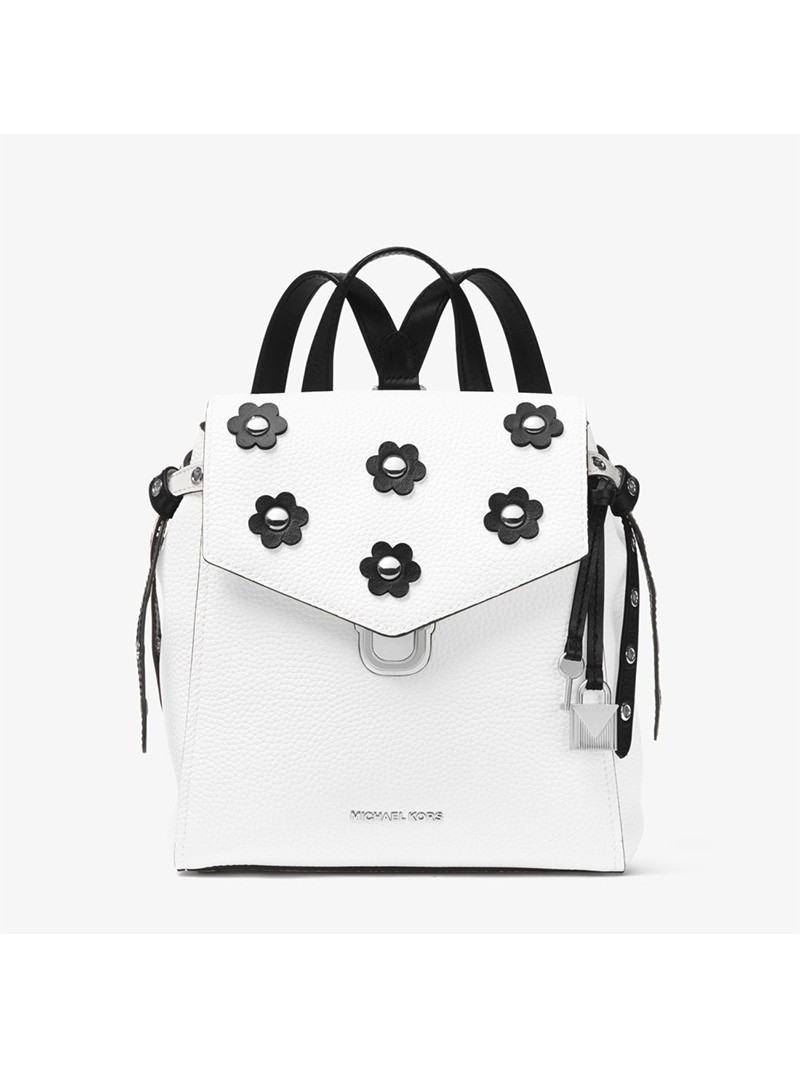 MICHAEL Michael Kors Bristol Small Floral Applique Leather Backpack White