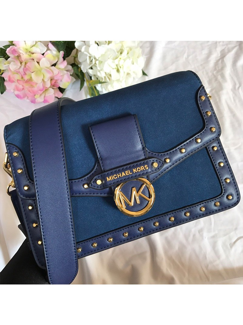 MICHAEL Michael Kors Jessie Large Suede and Leather Shoulder Bag Blue