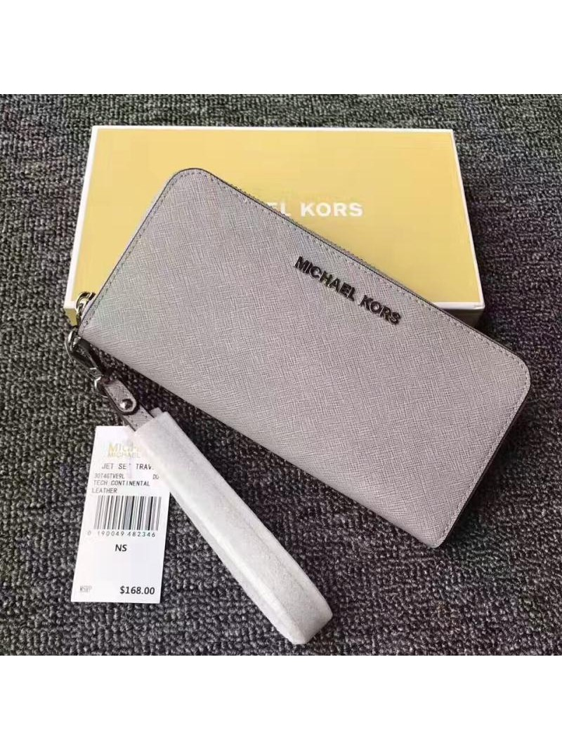 MICHAEL Michael Kors Jet Set Saffiano Leather Continental Wallet Grey