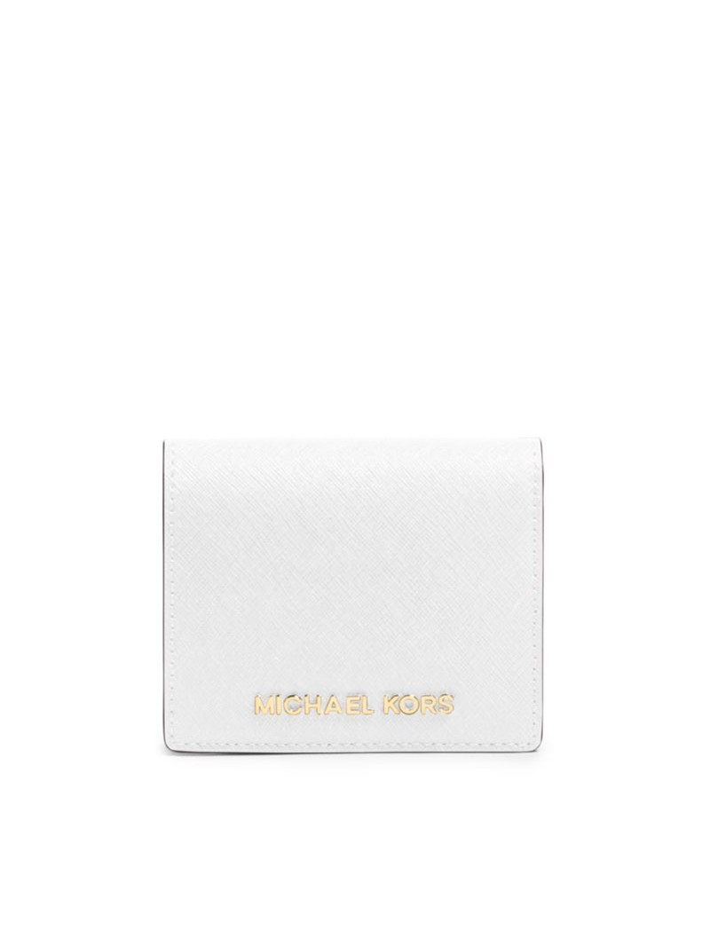 MICHAEL Michael Kors Jet Set Travel Flap Leather Card Holder White
