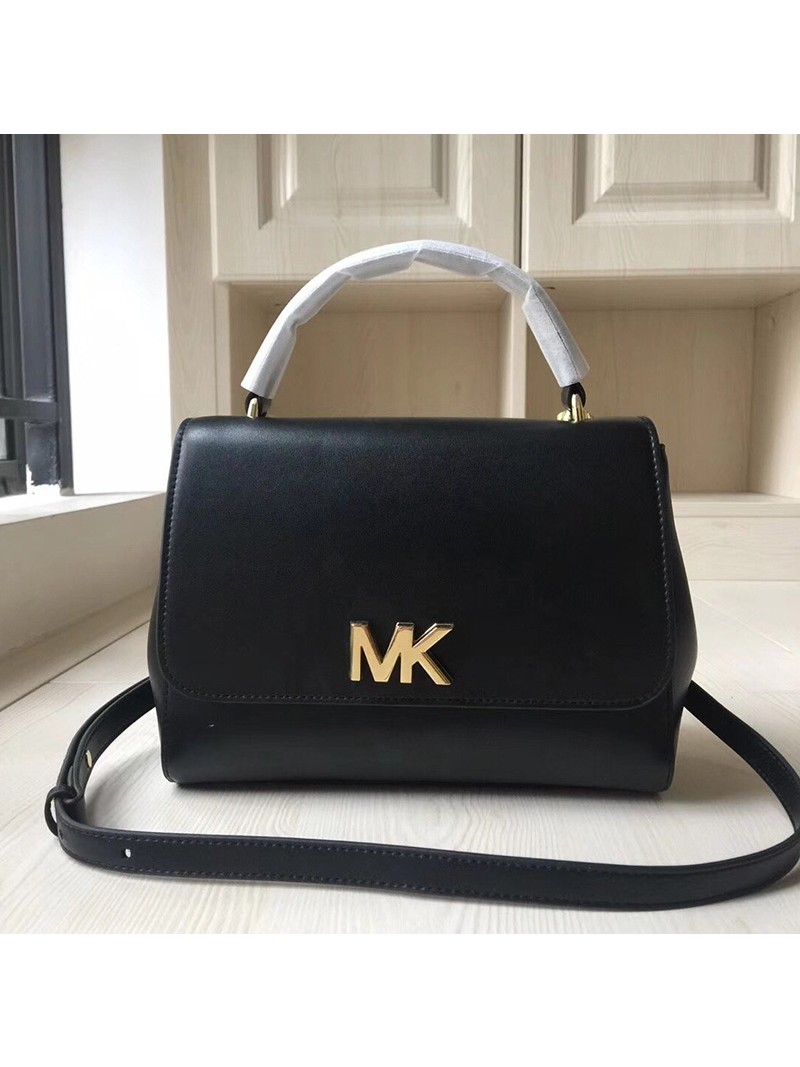 MICHAEL Michael Kors Mott Small Leather Satchel Black