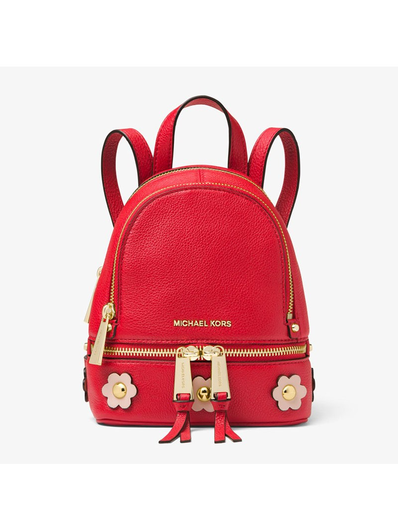 MICHAEL Michael Kors Rhea Mini Floral Applique Leather Backpack Red