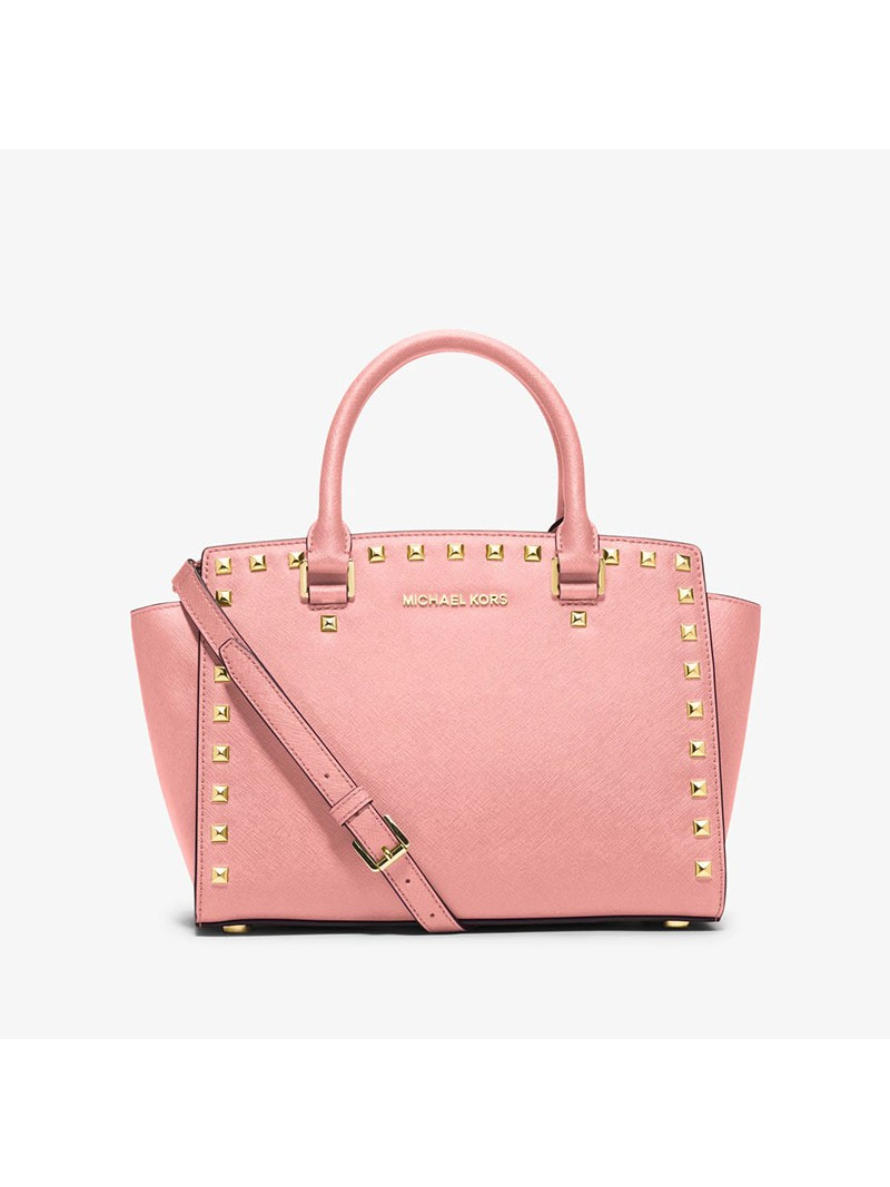 MICHAEL Michael Kors Selma Studded Saffiano Leather Satchel Pink
