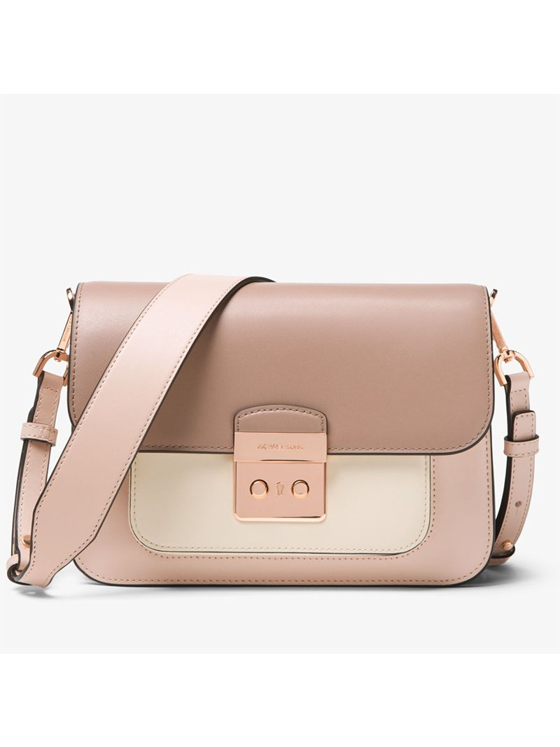 MICHAEL Michael Kors Sloan Editor Color-Block Leather Shoulder Bag Pink/Khaki