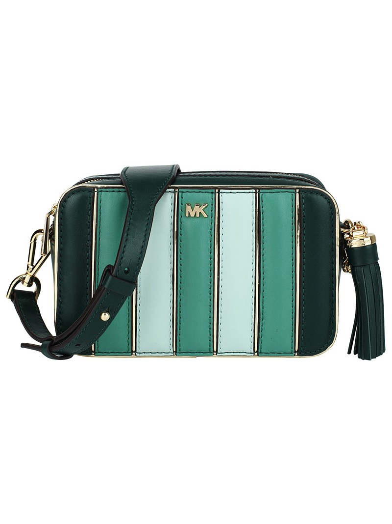 MICHAEL Michael Kors Jet Set Small Quilted Tri-Color Leather Camera Bag Green
