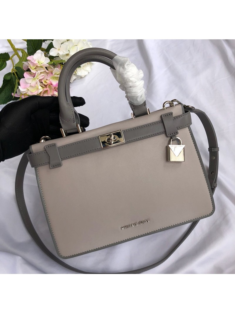 MICHAEL Michael Kors Tatiana Small Leather Satchel Grey