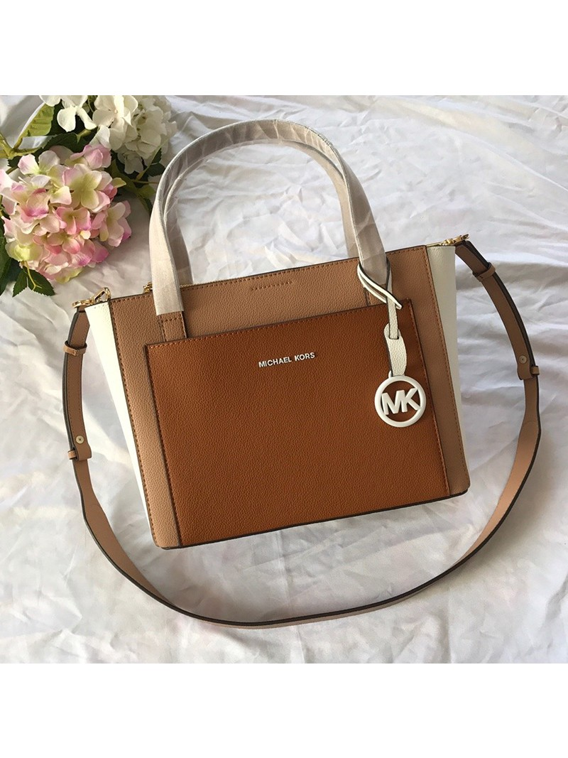 MICHAEL Michael Kors Gemma Two-Tone Pebbled Leather Pocket Crossbody Bag Khaki/Brown
