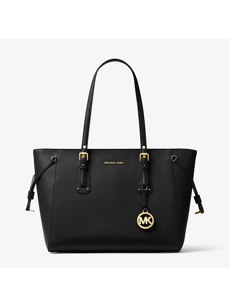 MICHAEL Michael Kors Voyager Medium Crossgrain Leather Tote Black