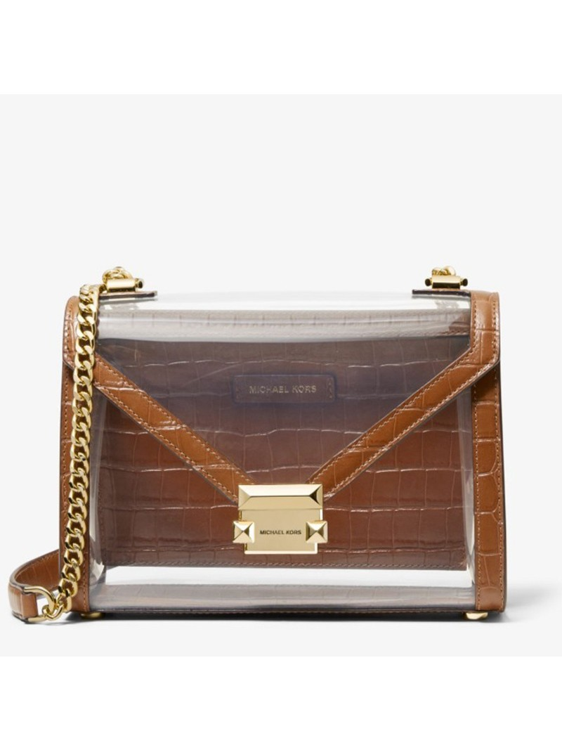 MICHAEL Michael Kors Whitney Large Clear and Leather Convertible Shoulder Bag Brown