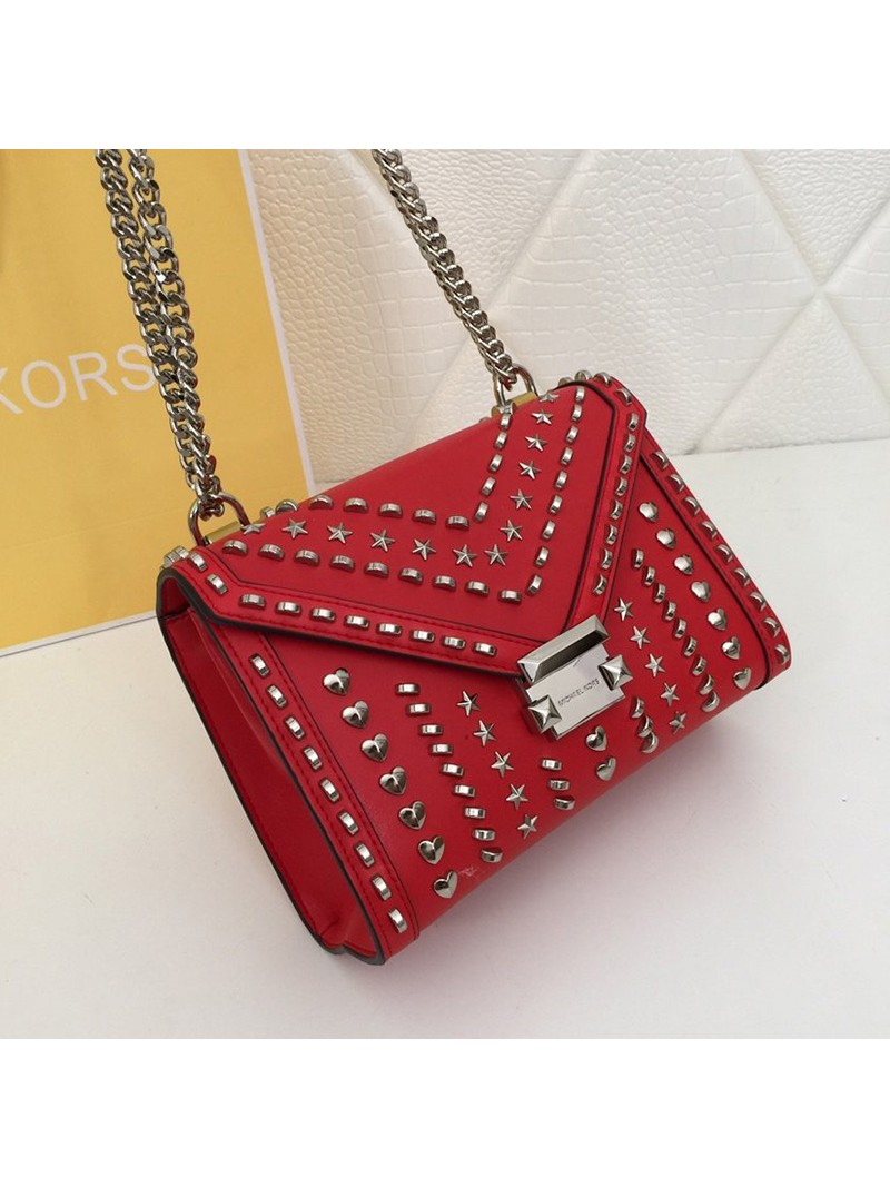 MICHAEL Michael Kors Whitney Medium Studded Leather Shoulder Bag Red