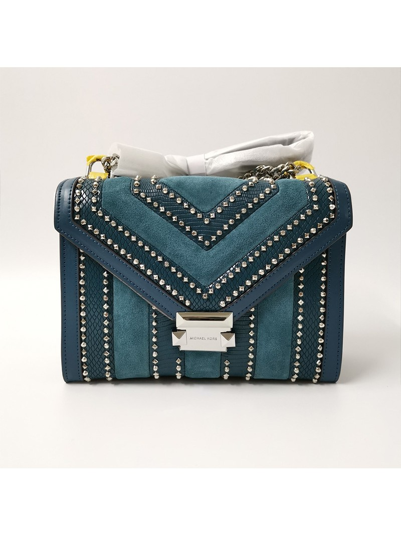 MICHAEL Michael Kors Whitney Medium Studded Suede And Leather Shoulder Bag Blue