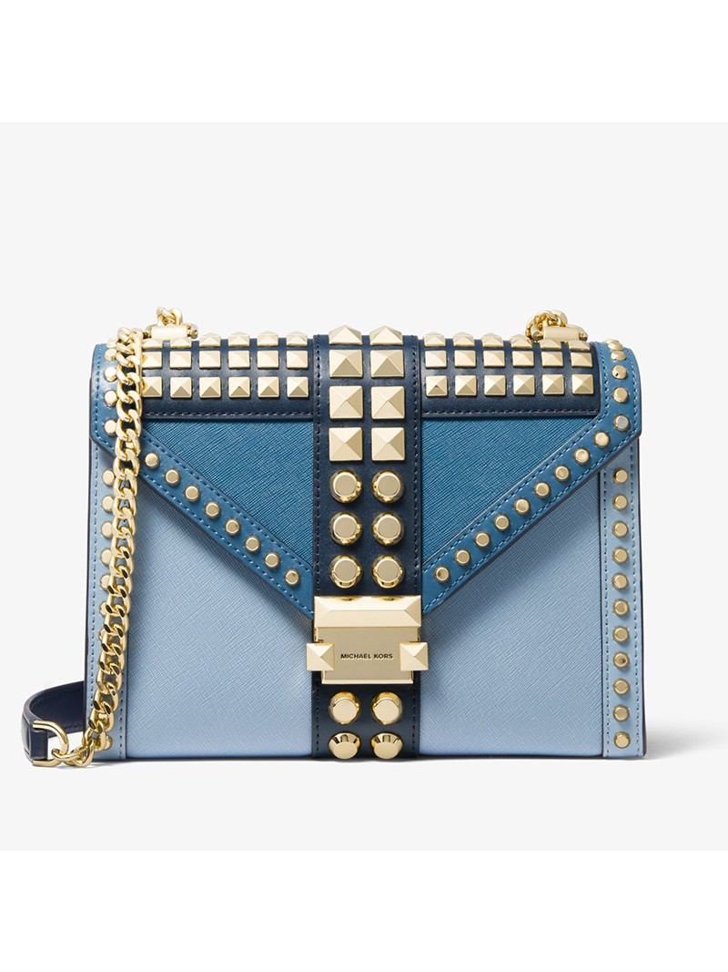 MICHAEL Michael Kors Whitney Large Studded Saffiano Leather Convertible Shoulder Bag Blue