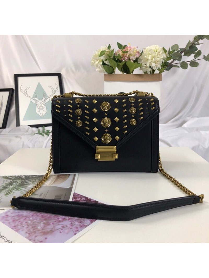 MICHAEL Michael Kors Whitney Studded Leather Convertible Shoulder Bag Black