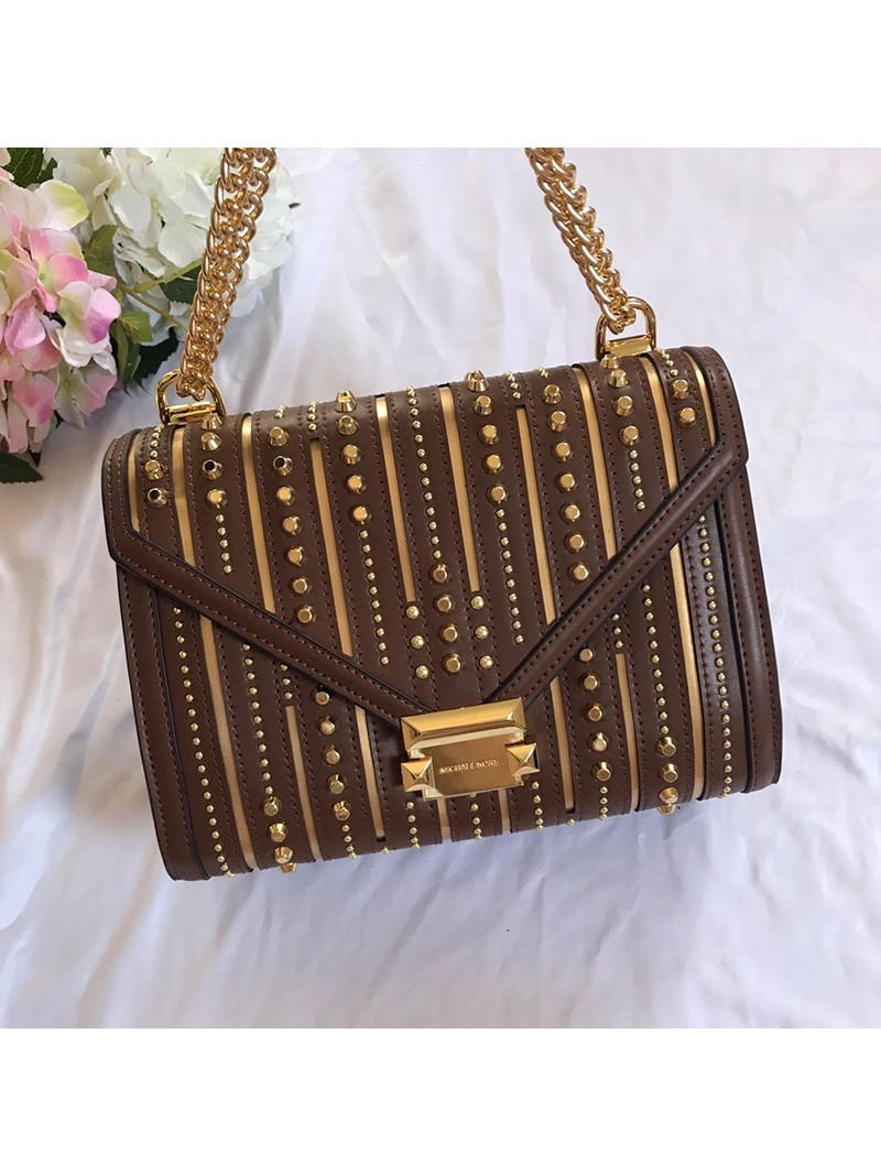 MICHAEL Michael Kors Whitney Large Studded Leather Convertible Shoulder Bag Brown