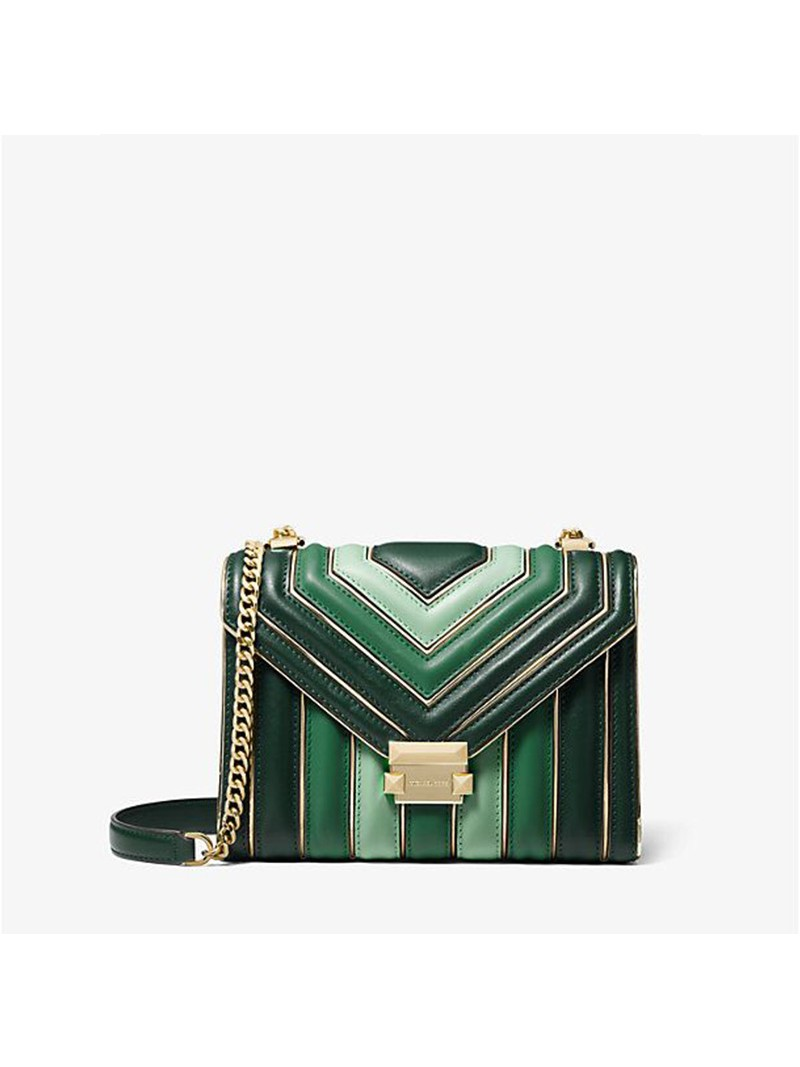 MICHAEL Michael Kors Whitney Tri-Color Quilted Leather Shoulder Bag Green