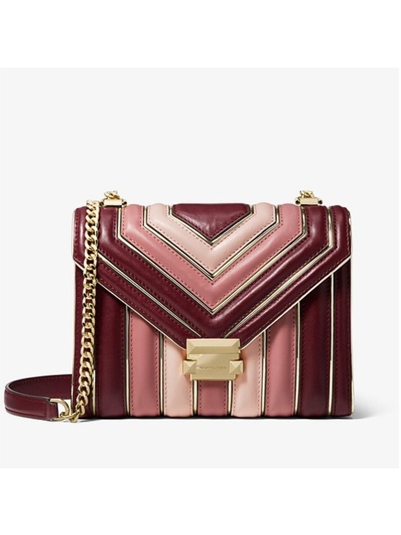 MICHAEL Michael Kors Whitney Tri-Color Quilted Leather Shoulder Bag Red