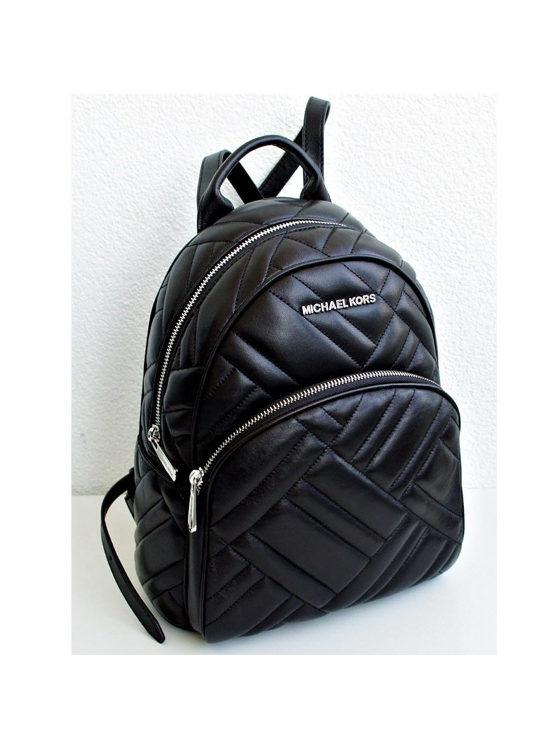 MICHAEL Michael Kors Abbey Medium Quilted Leather Backpack Black