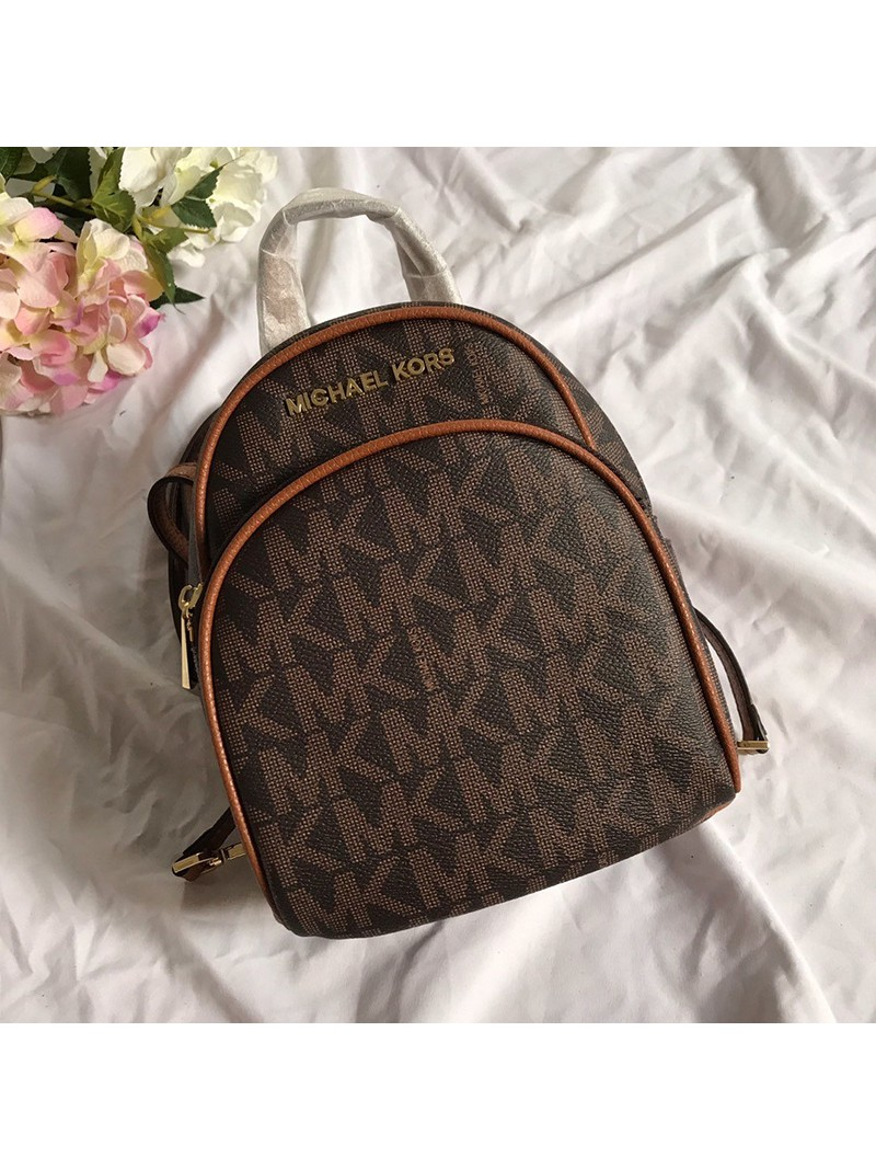 MICHAEL Michael Kors Abbey Mini Logo Backpack Coffee