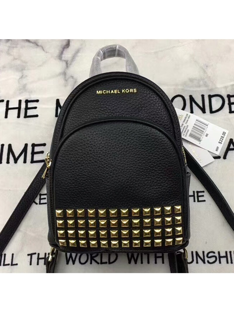 MICHAEL Michael Kors Abbey Extra-Small Studded Leather Backpack Black