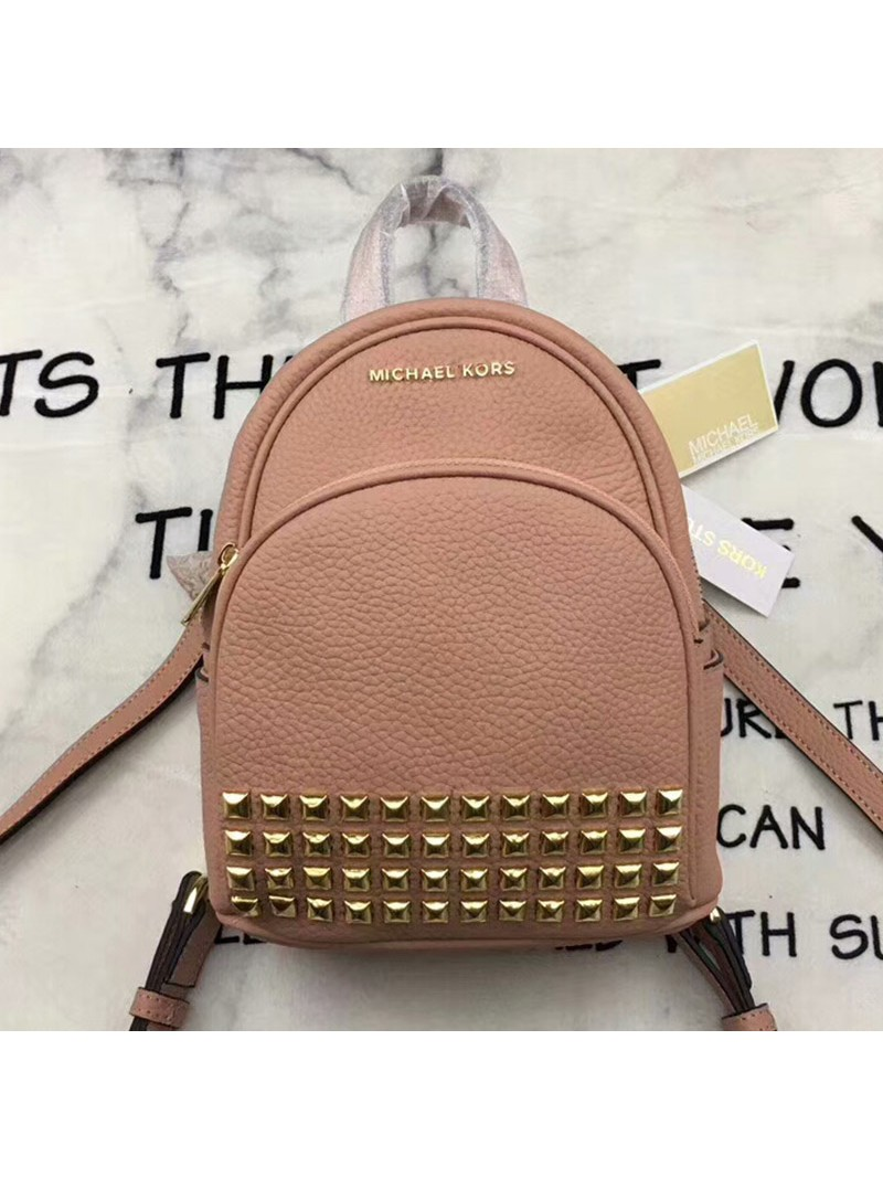 MICHAEL Michael Kors Abbey Extra-Small Studded Leather Backpack Pink