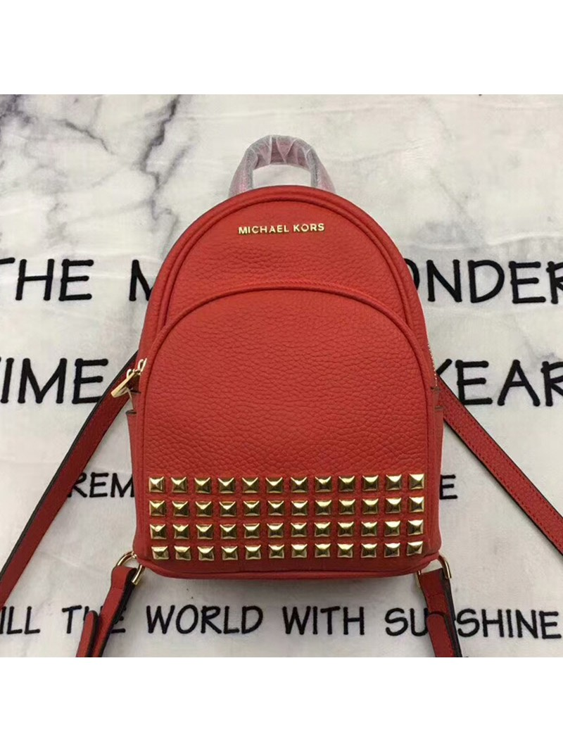 MICHAEL Michael Kors Abbey Extra-Small Studded Leather Backpack Red
