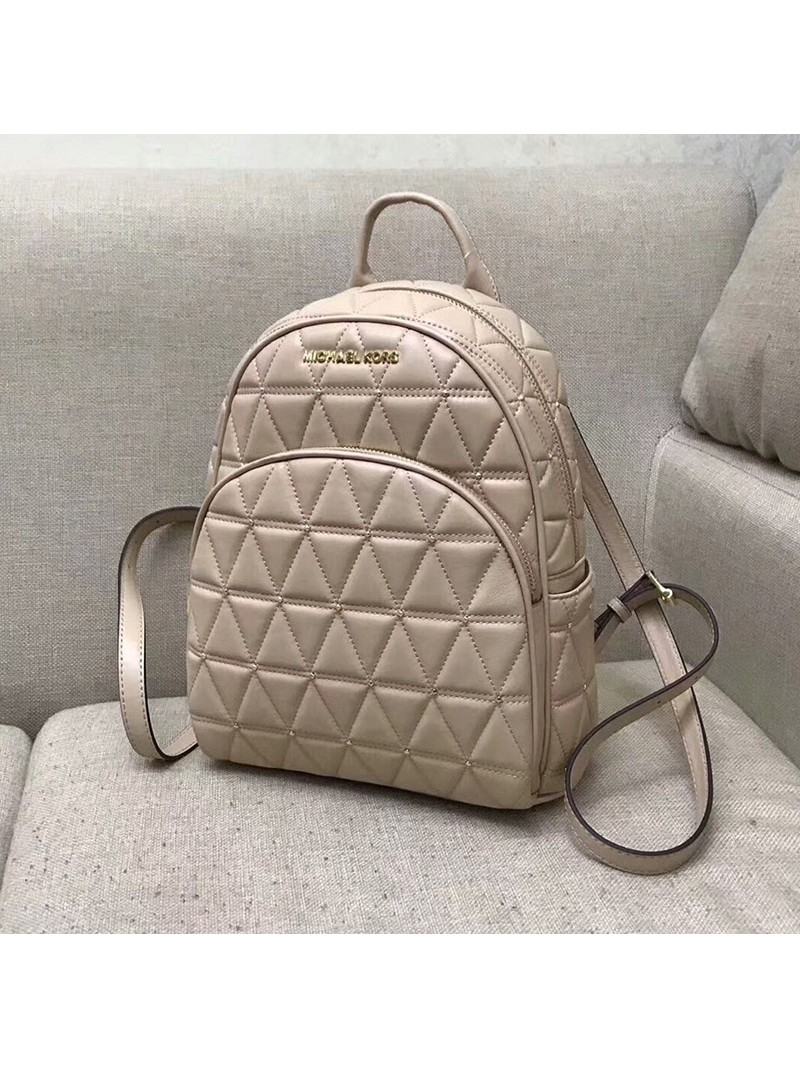 MICHAEL Michael Kors Abbey Quilted-Leather Backpack Apricot