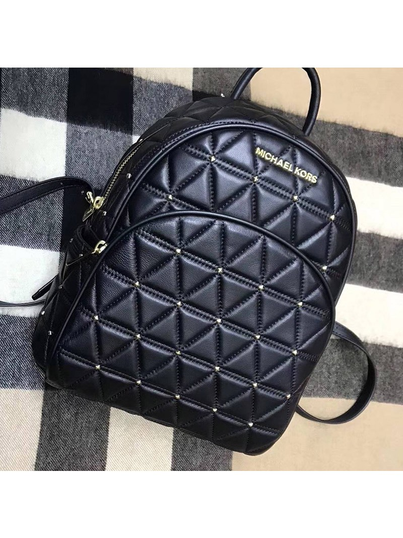 MICHAEL Michael Kors Abbey Quilted-Leather Backpack Black