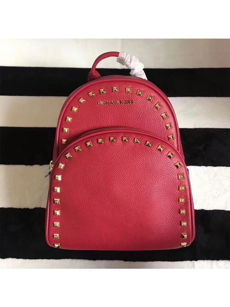 MICHAEL Michael Kors Abbey Studded Leather Backpack Red