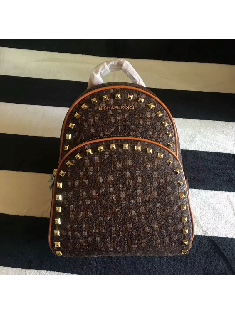 MICHAEL Michael Kors Abbey Studded Logo Backpack Coffee
