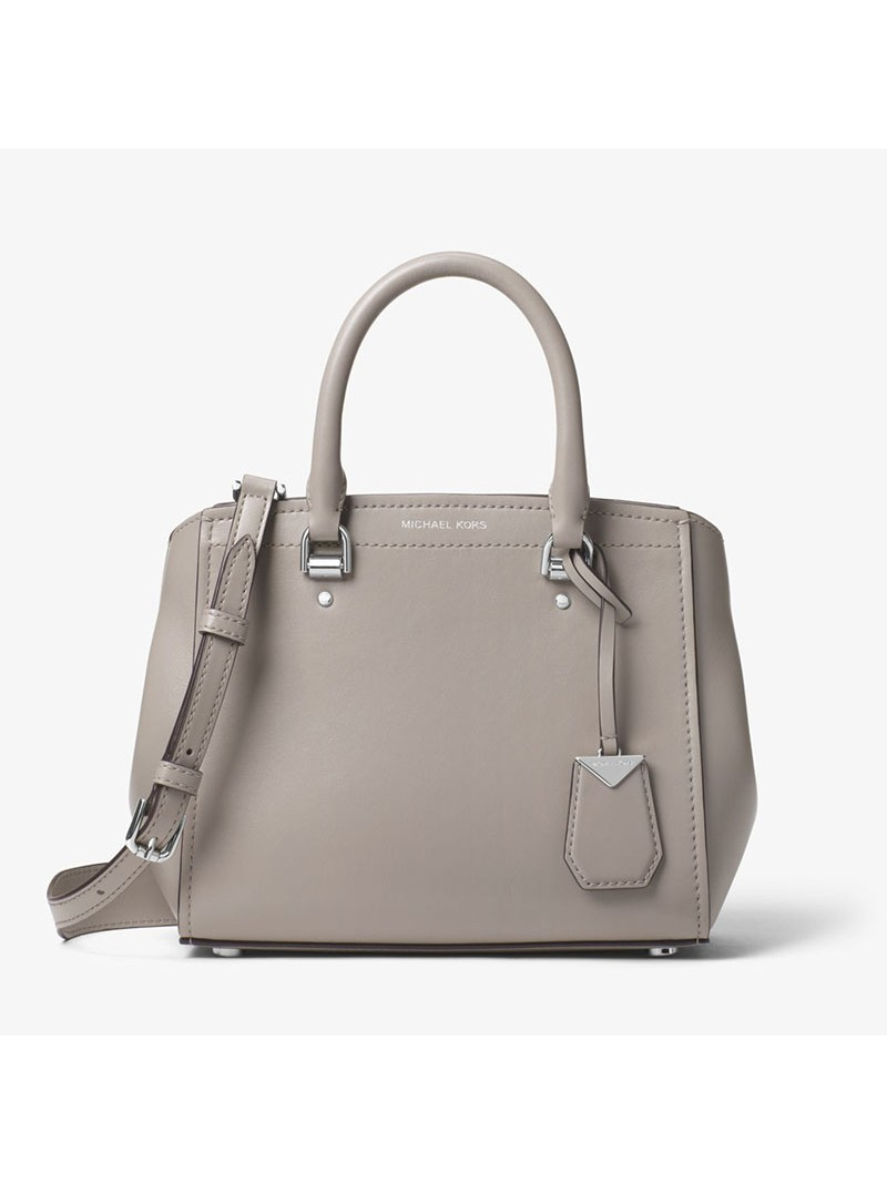 MICHAEL Michael Kors Benning Medium Leather Satchel Grey