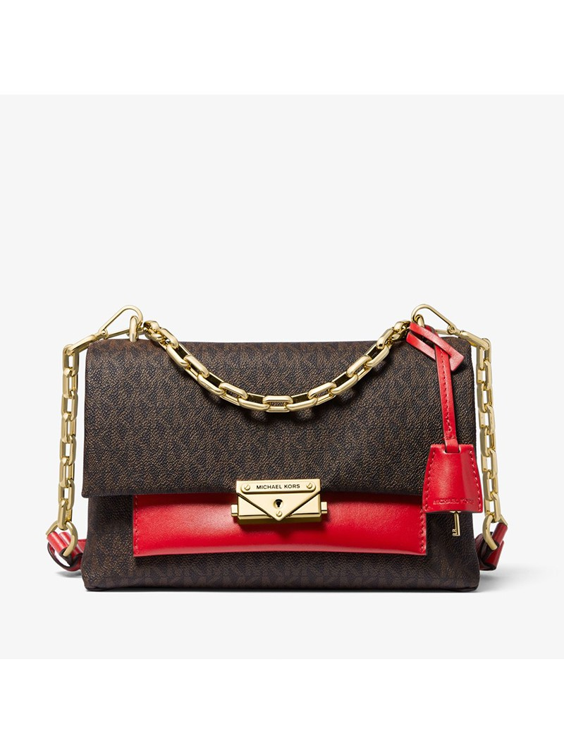 MICHAEL Michael Kors Cece Medium Logo and Leather Shoulder Bag Red