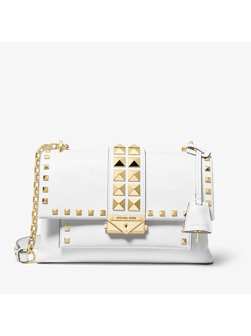 MICHAEL Michael Kors Cece Medium Studded Leather Convertible Shoulder Bag White