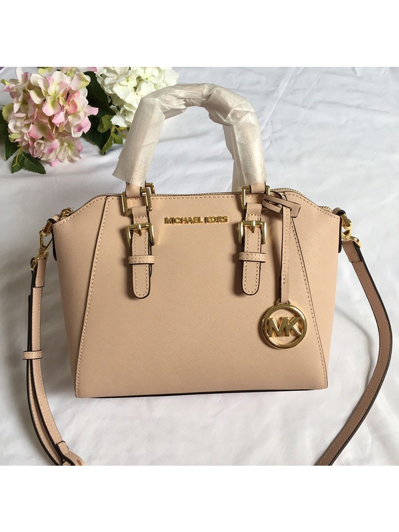 MICHAEL Michael Kors Ciara Small Saffiano Leather Satchel Apricot