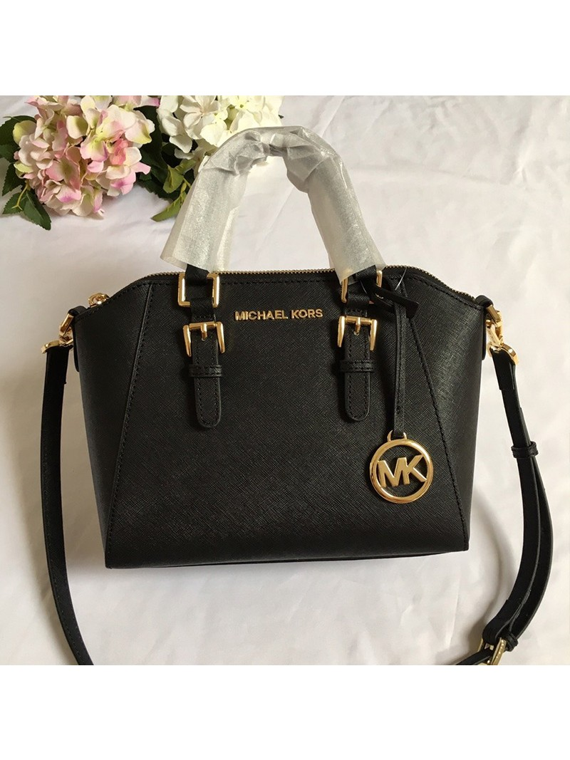 MICHAEL Michael Kors Ciara Small Saffiano Leather Satchel Black
