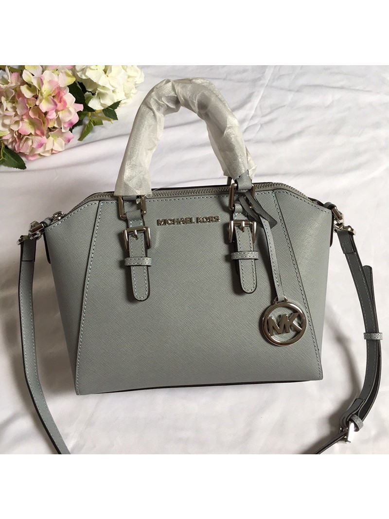 MICHAEL Michael Kors Ciara Small Saffiano Leather Satchel Grey