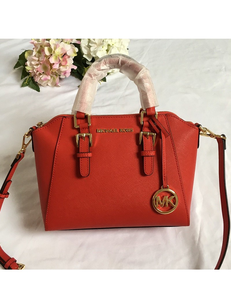 MICHAEL Michael Kors Ciara Small Saffiano Leather Satchel Red