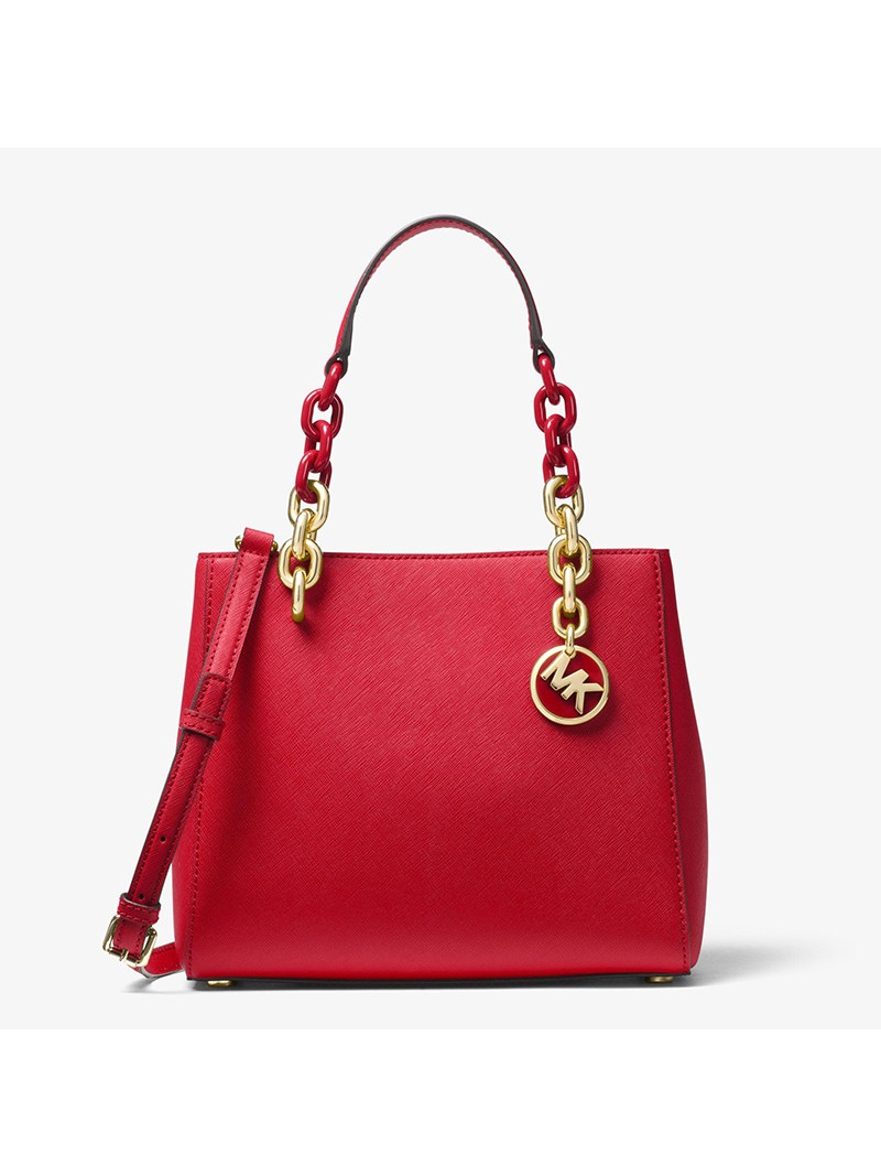 MICHAEL Michael Kors Cynthia Small Leather Satchel Red