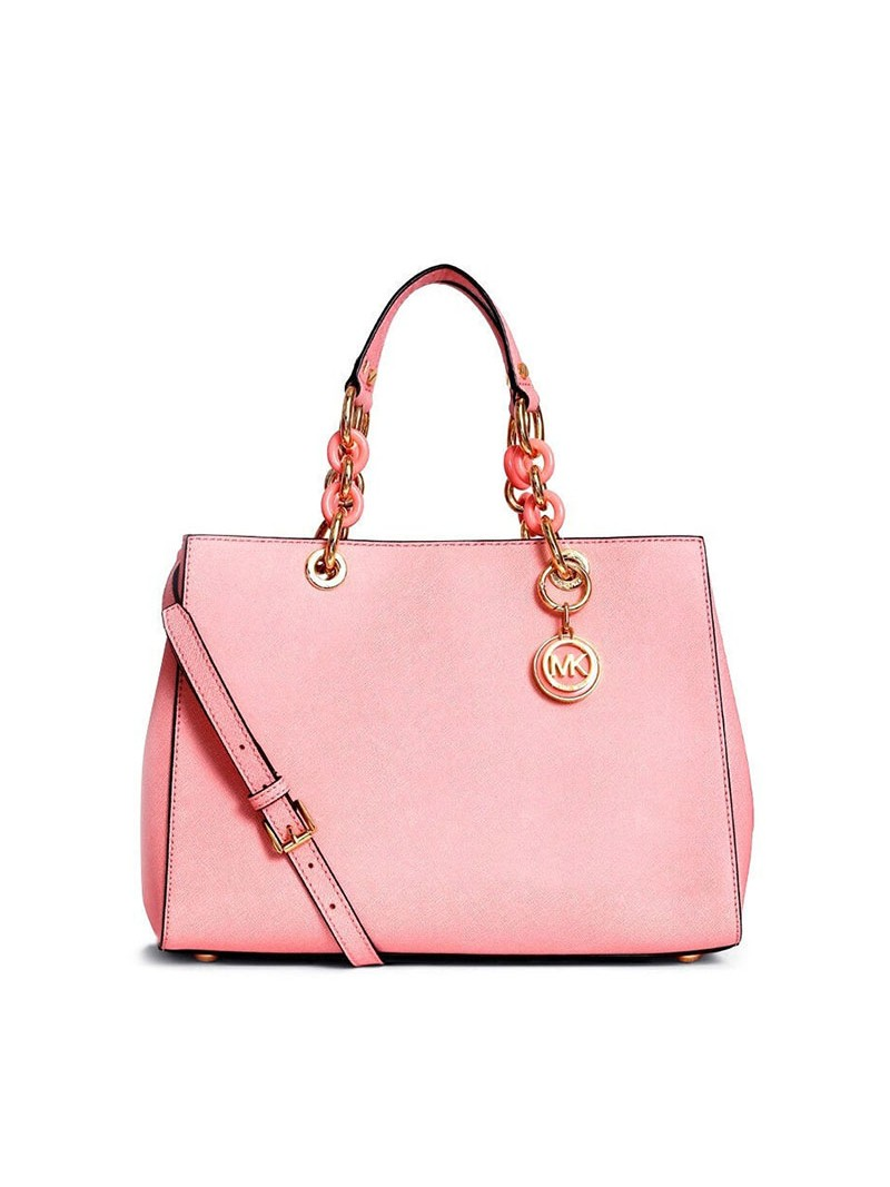 MICHAEL Michael Kors Cynthia Saffiano Leather Satchel Pink