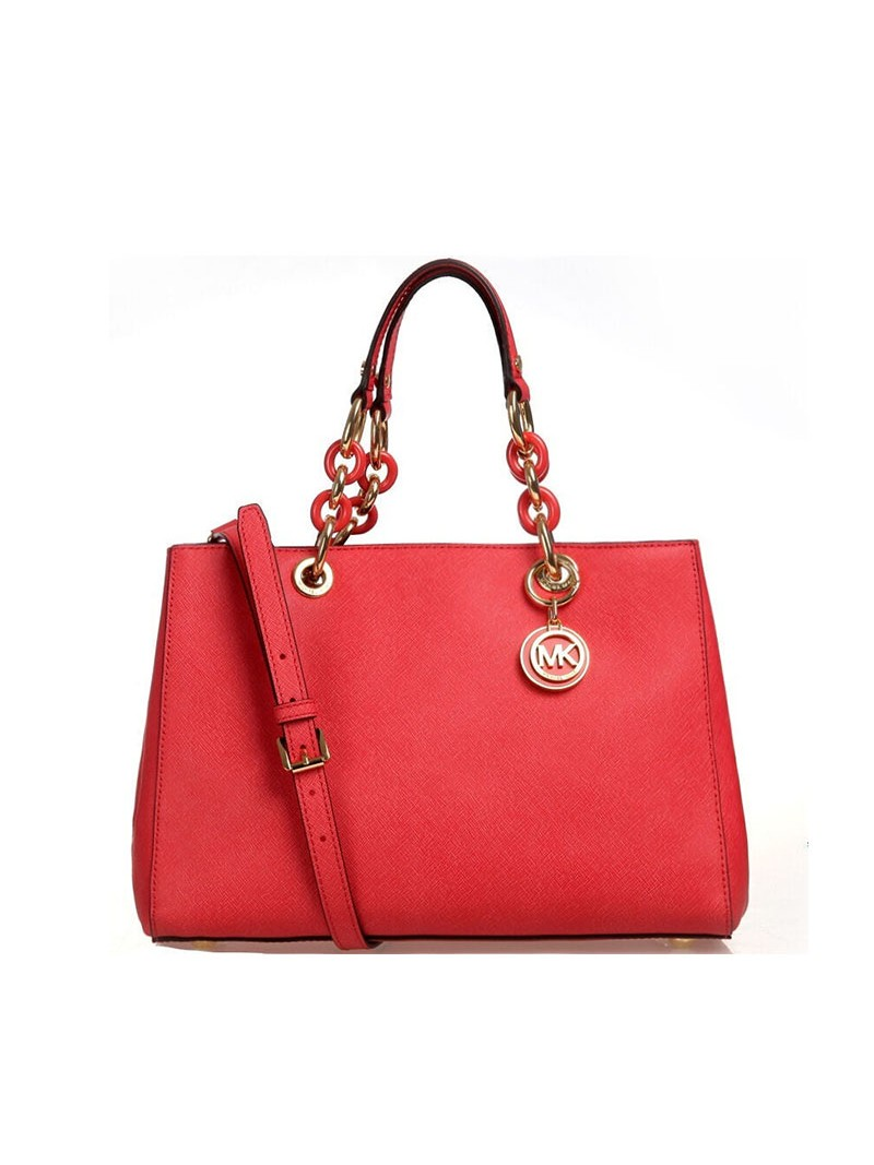 MICHAEL Michael Kors Cynthia Saffiano Leather Satchel Red