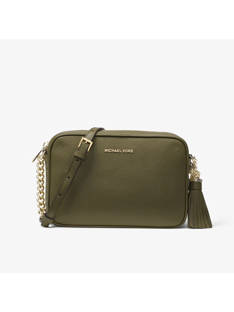 MICHAEL Michael Kors Ginny Medium Pebbled Leather Crossbody Bag Olive