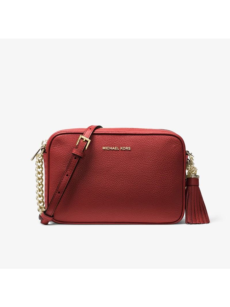 MICHAEL Michael Kors Ginny Medium Pebbled Leather Crossbody Bag Red