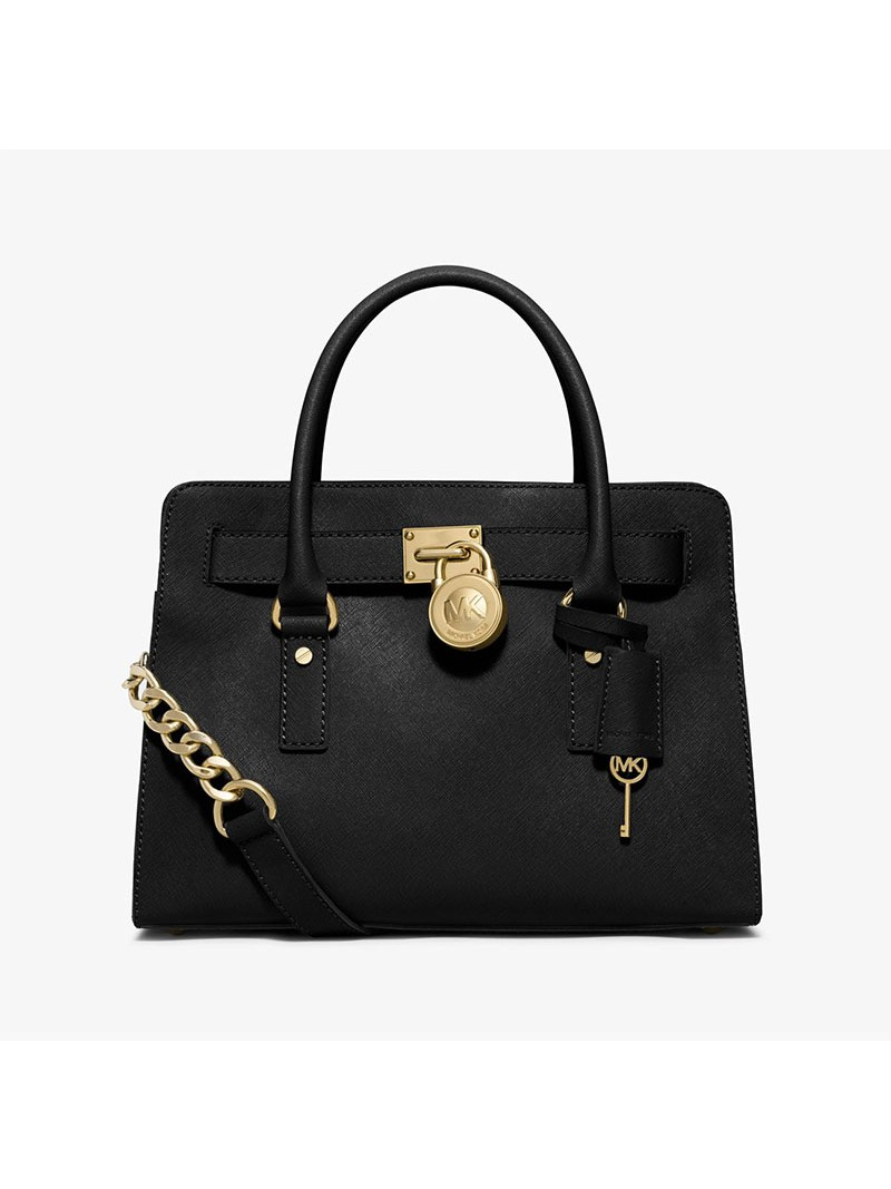 MICHAEL Michael Kors Hamilton Medium Saffiano Leather Satchel Black