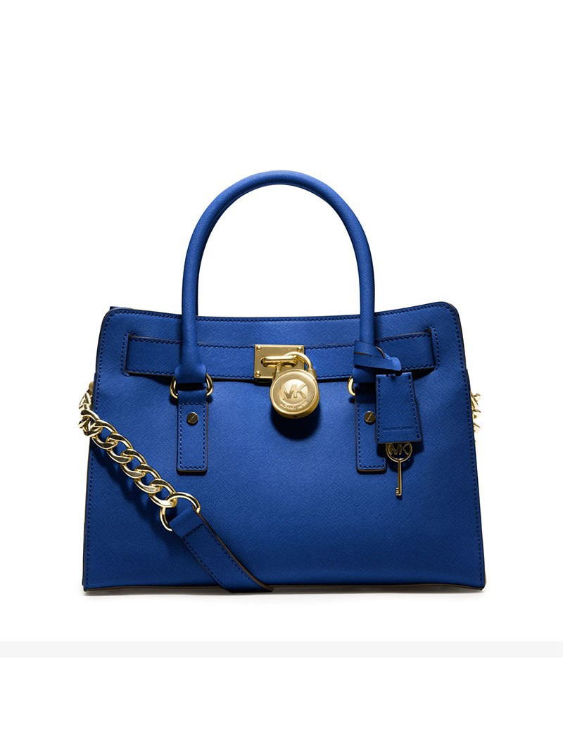 MICHAEL Michael Kors Hamilton Medium Saffiano Leather Satchel Blue