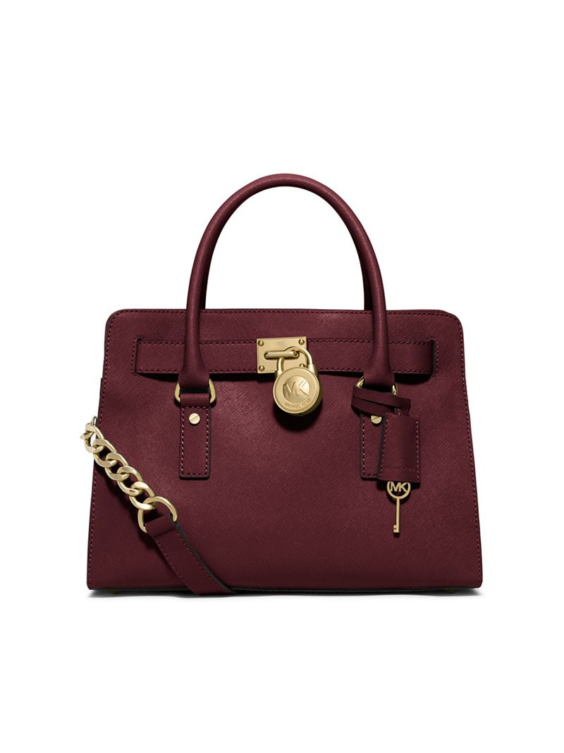MICHAEL Michael Kors Hamilton Medium Saffiano Leather Satchel Burgundy