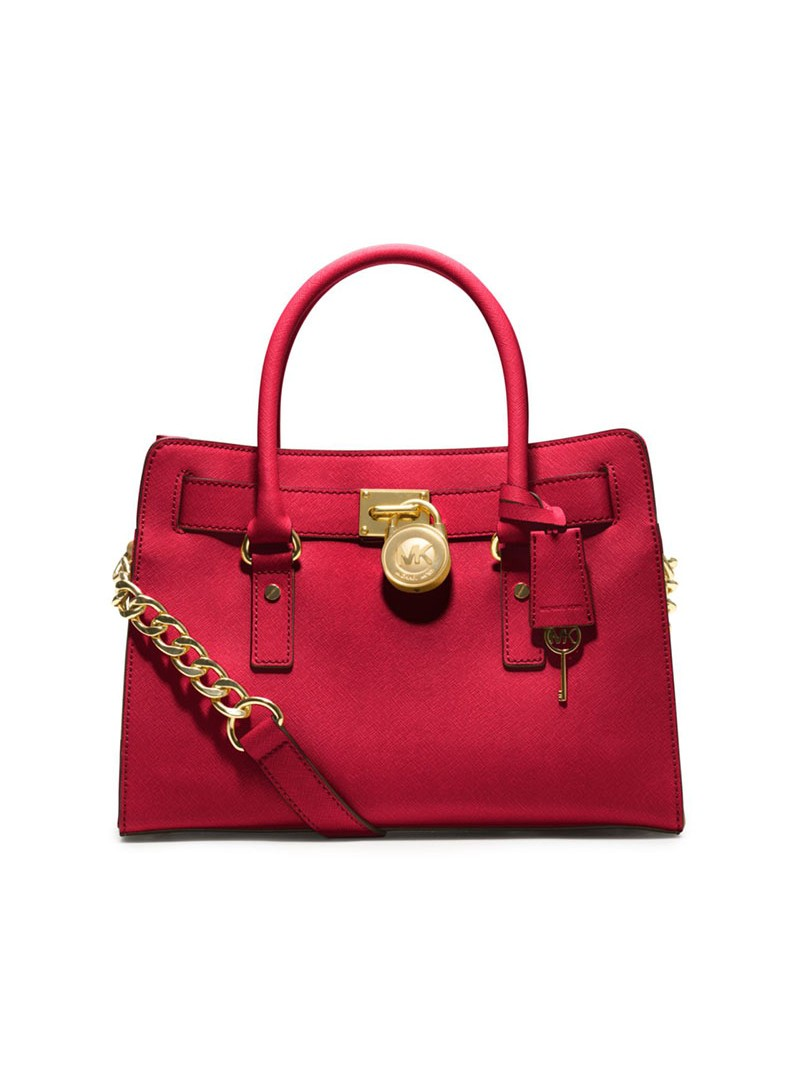 MICHAEL Michael Kors Hamilton Medium Saffiano Leather Satchel Red