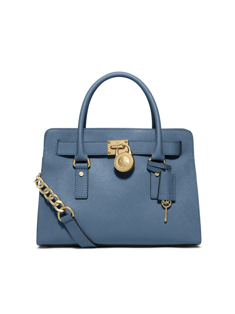 MICHAEL Michael Kors Hamilton Medium Saffiano Leather Satchel Sky Blue