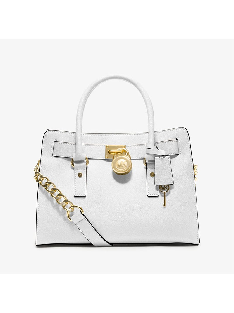 MICHAEL Michael Kors Hamilton Medium Saffiano Leather Satchel White